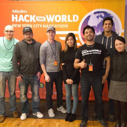 Group of seven developers smiling