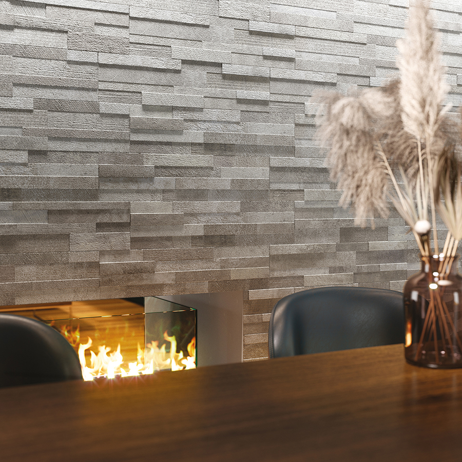 Rich and innovative line of natural stone field tiles and mosaics.
