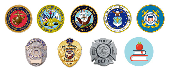 Badges of multiple first-responder agencies