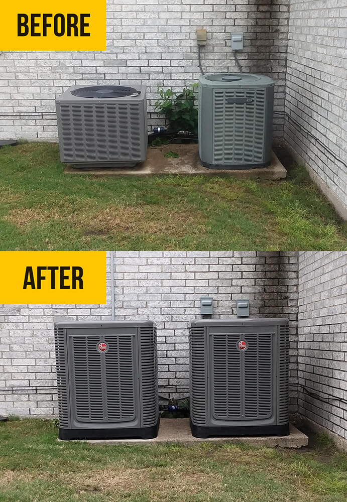 Photo of a before and after examples of two exterior AC units