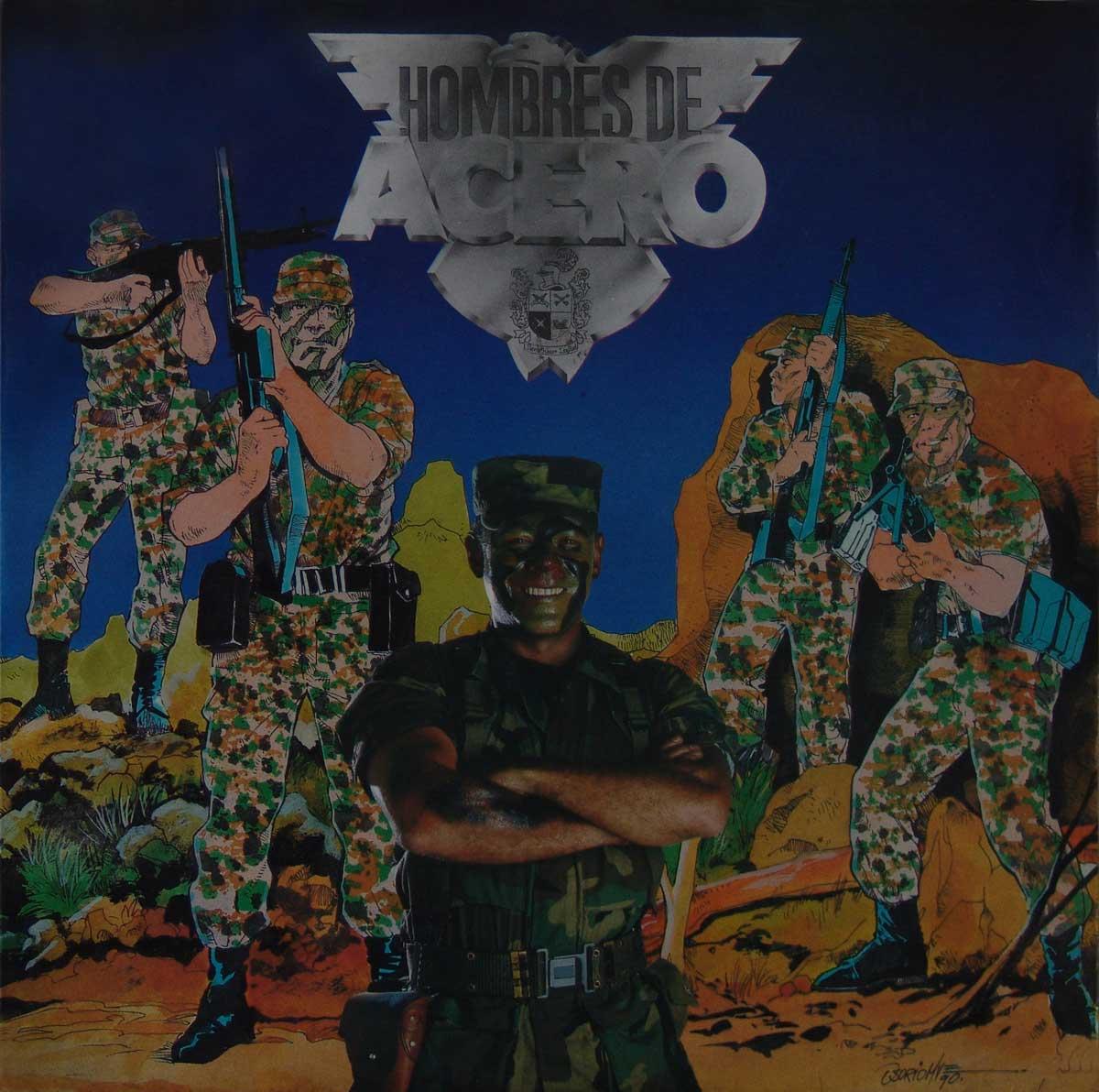 Cuarta brigada de Medellín Hombres de acero, 1992. Sin datos sobre sello discográfico, Vinilo 33 RPM