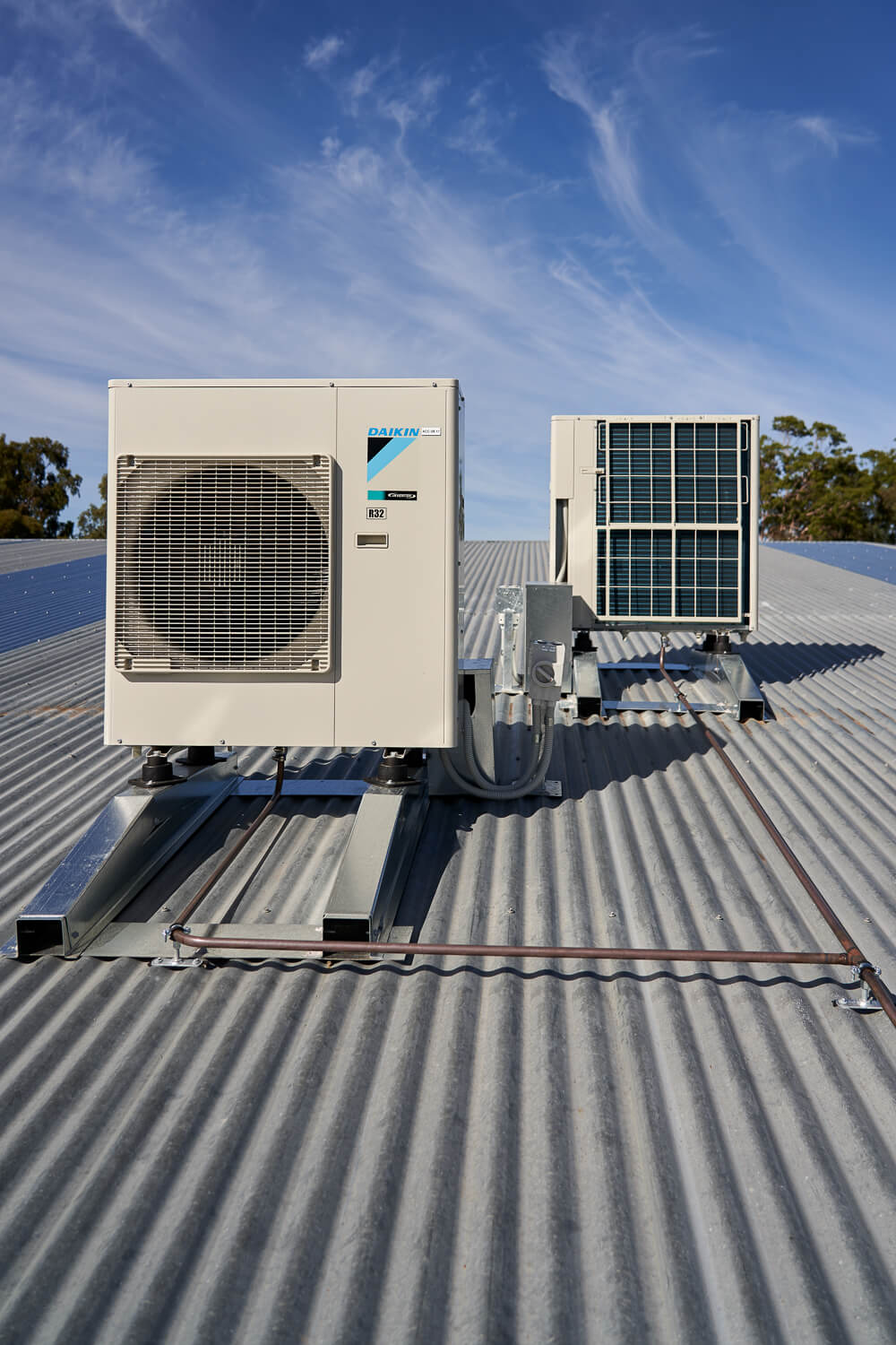 Air conditioning unit on roof, Ascott Primary School