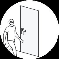 Man in ski mask passing in front of the door