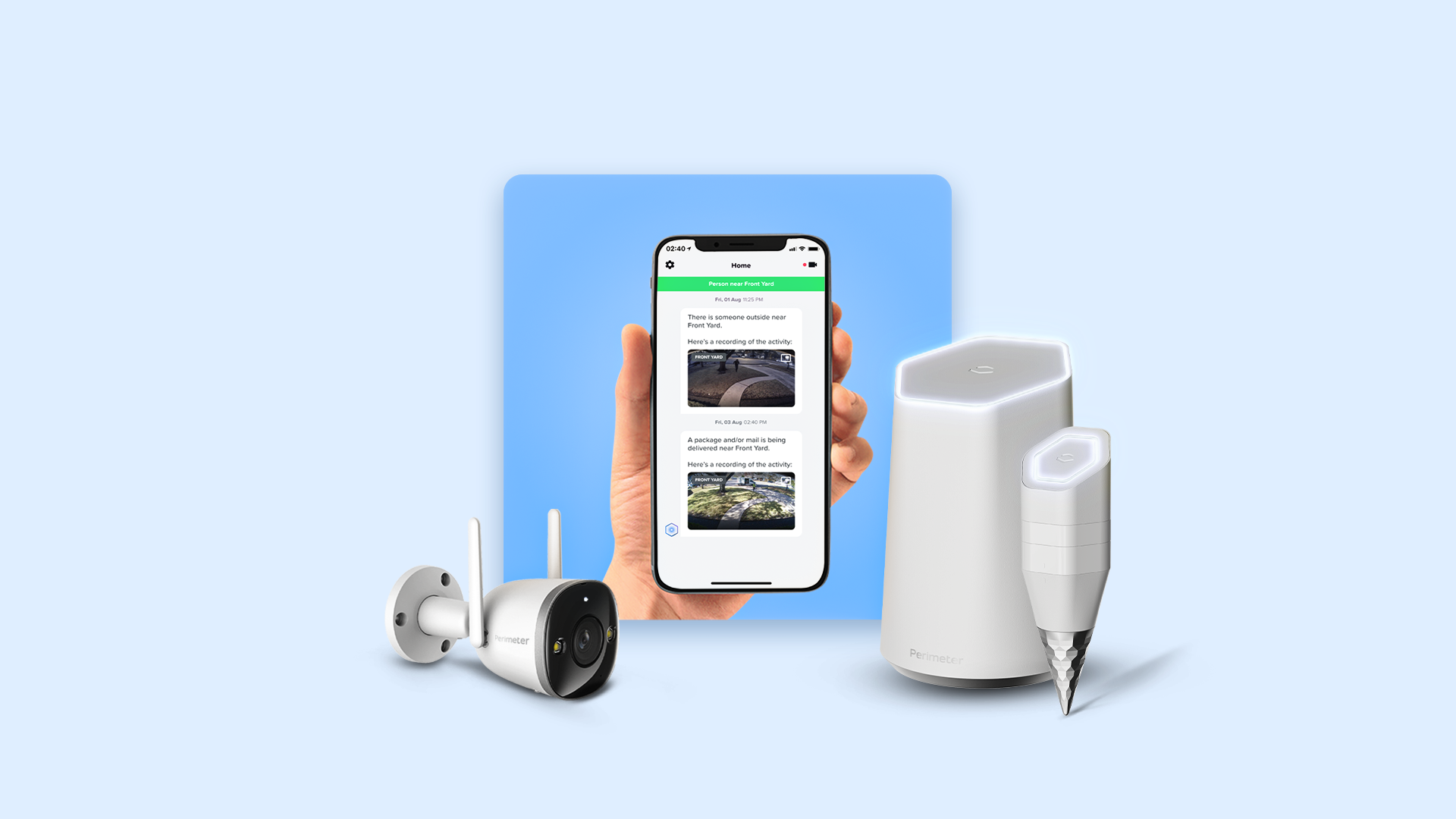 Image of a hand holding a phone with the Perimeter app open. In front of that, the Perimeter Camera, Homebase and Ground Sensor