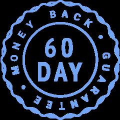 Badge saying 60 day money back guarantee