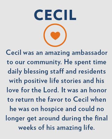Cecil, Bethesda Gardens Monument Hospice Care
