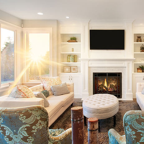 clean show home with sun streaming through the windows