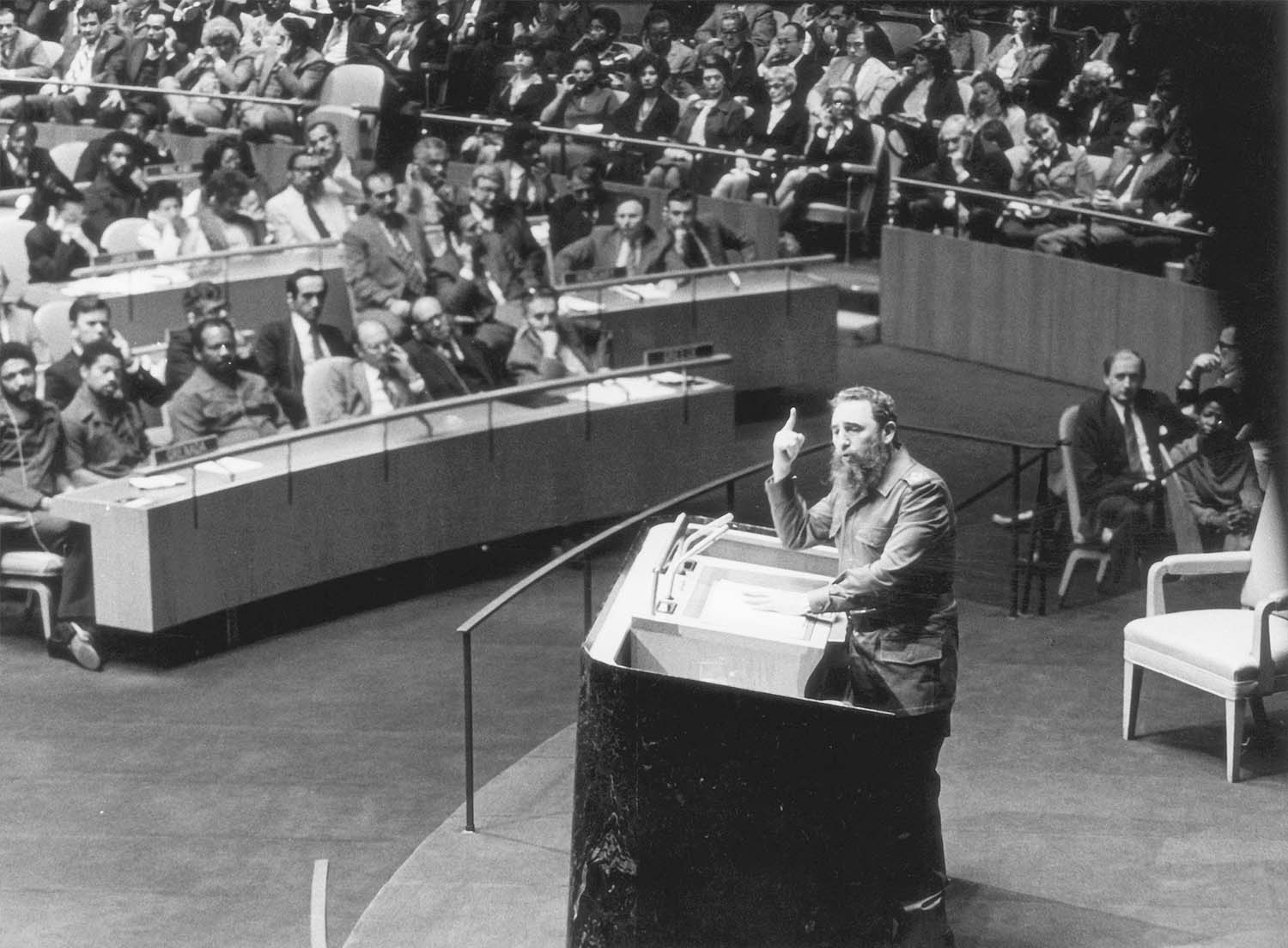 Cuban president Fidel Castro addresses the 34th General Assembly of the United Nations, New York, New York, October 12, 1979