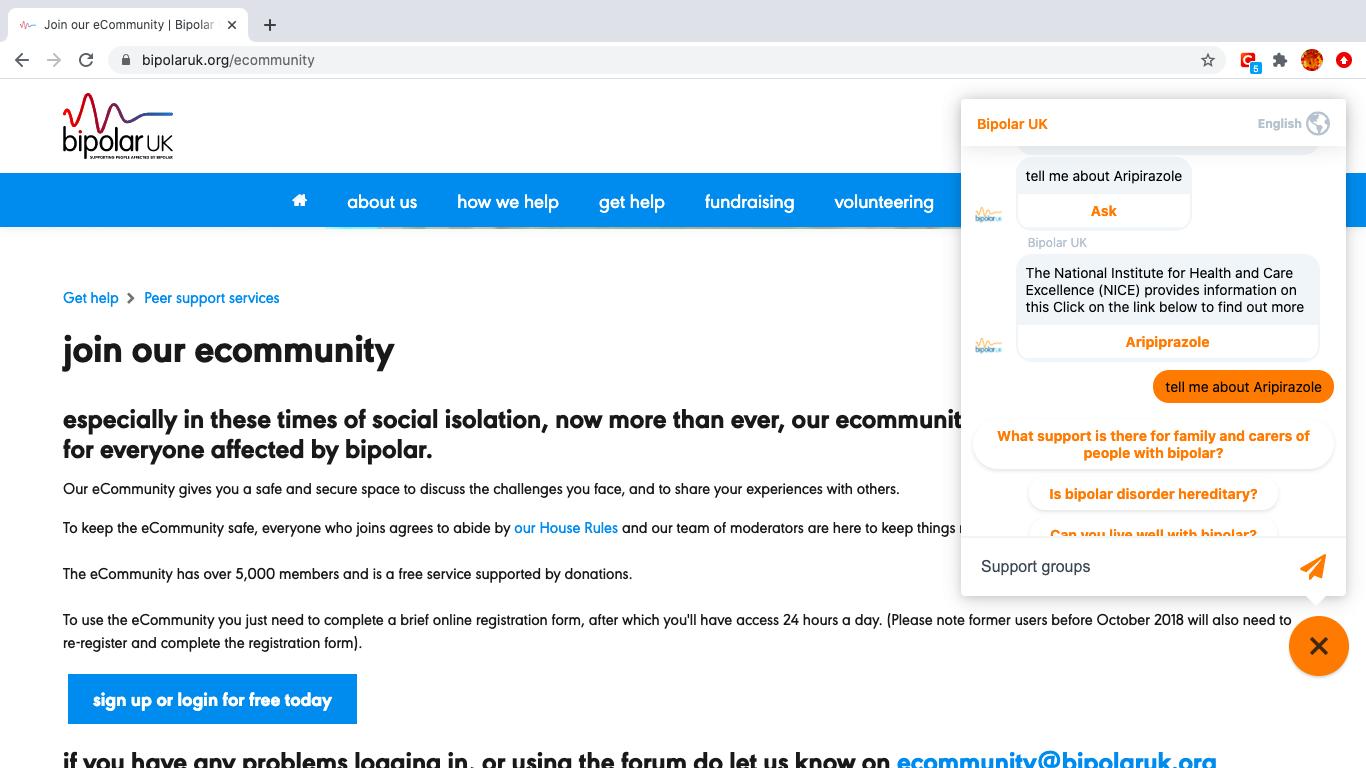 Chatbot in situ on Bipolar UK's website