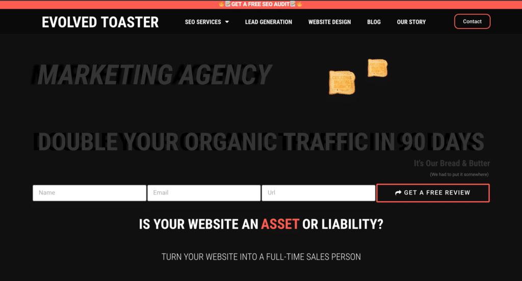 website design homepage screenshot