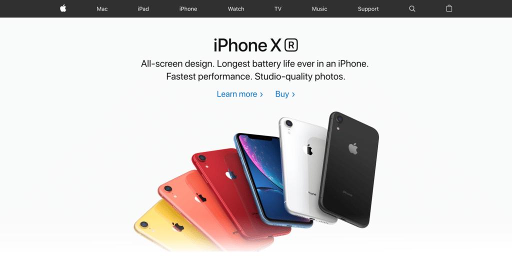 new apple website design
