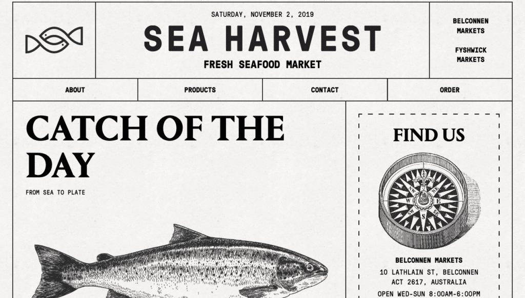 sea harvest newspaper website style