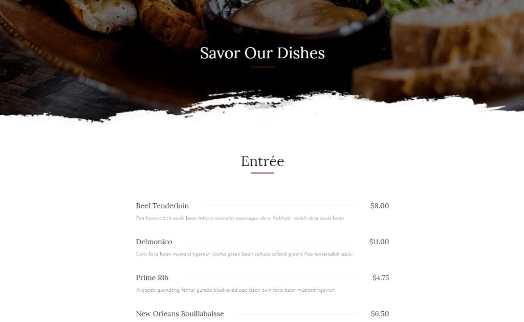 menu food web design
