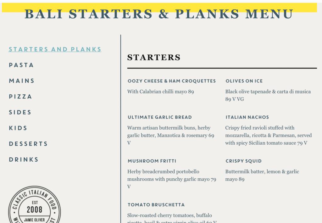 food menu website