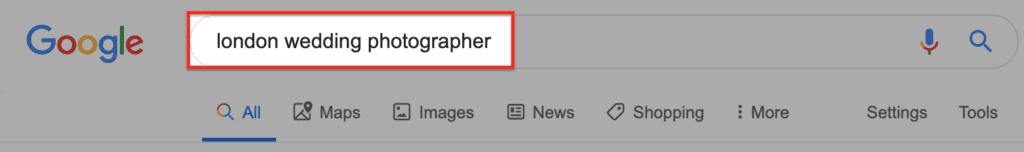 google search london photographer