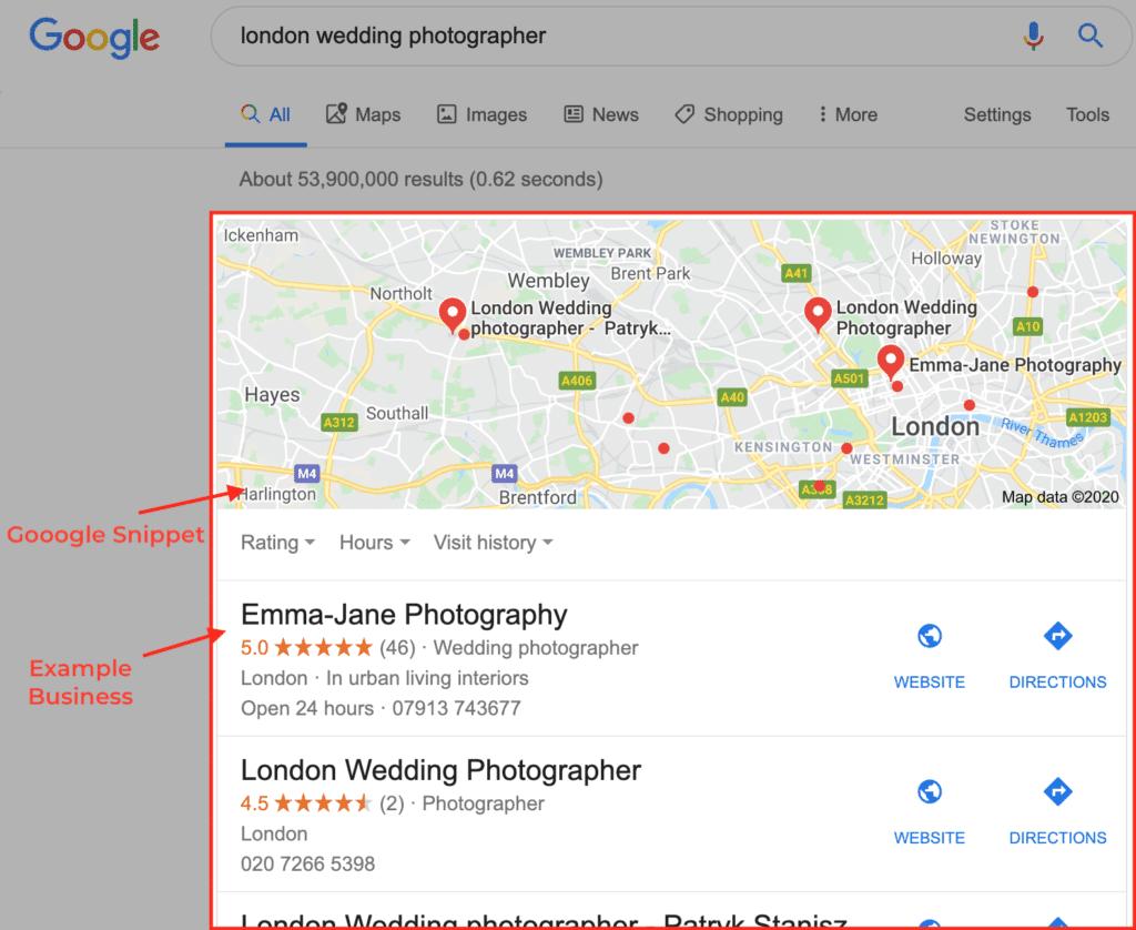 london wedding photographer Google SEO