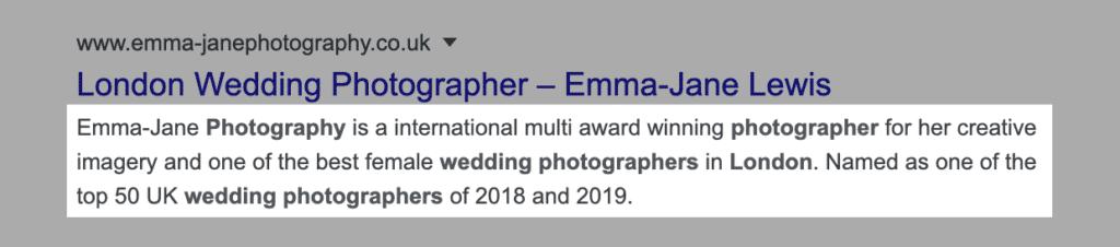 Meta description seo wedding photographer