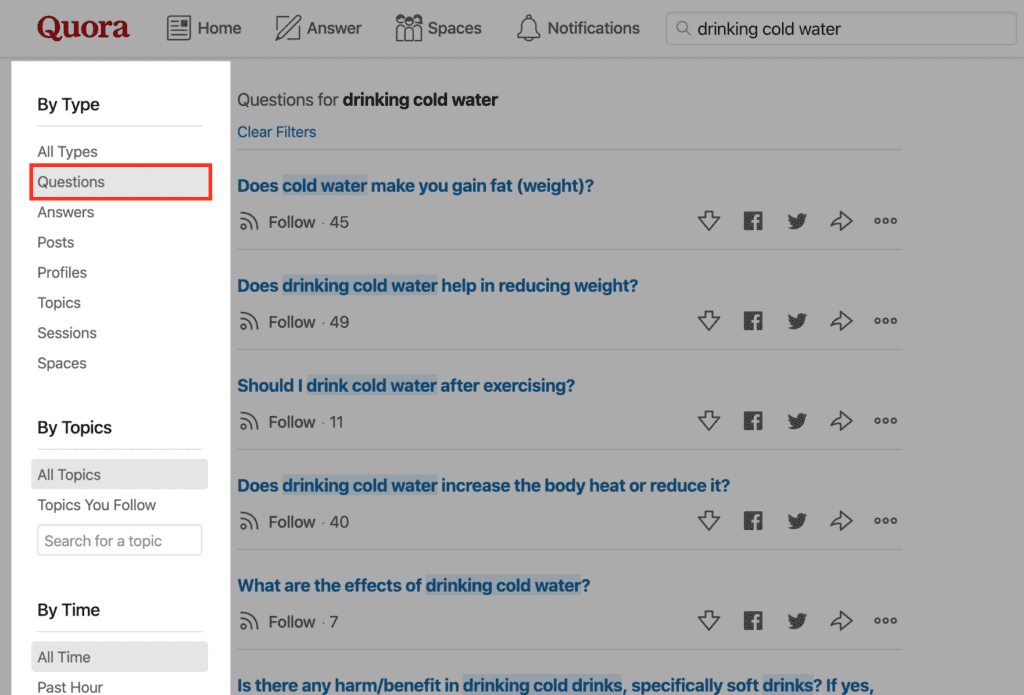 quora questions research