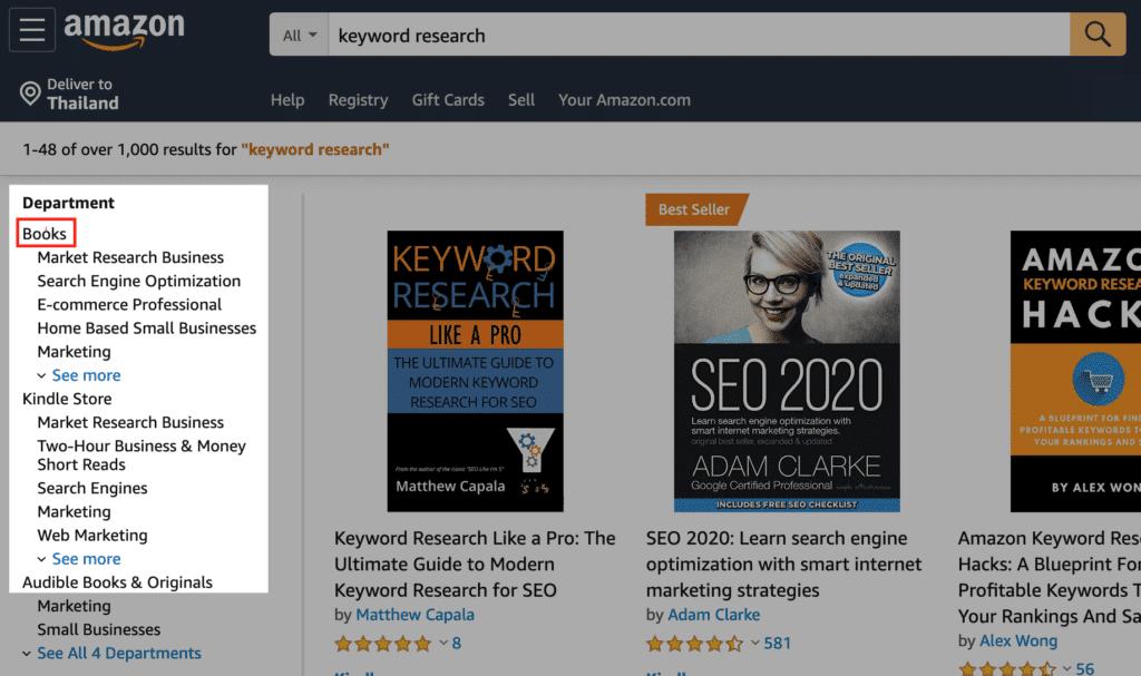 Amazon keyword research using books