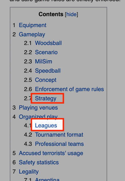 Wikipedia table of contents copy