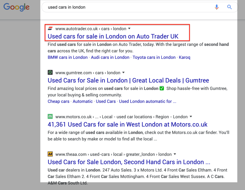 User search intent example