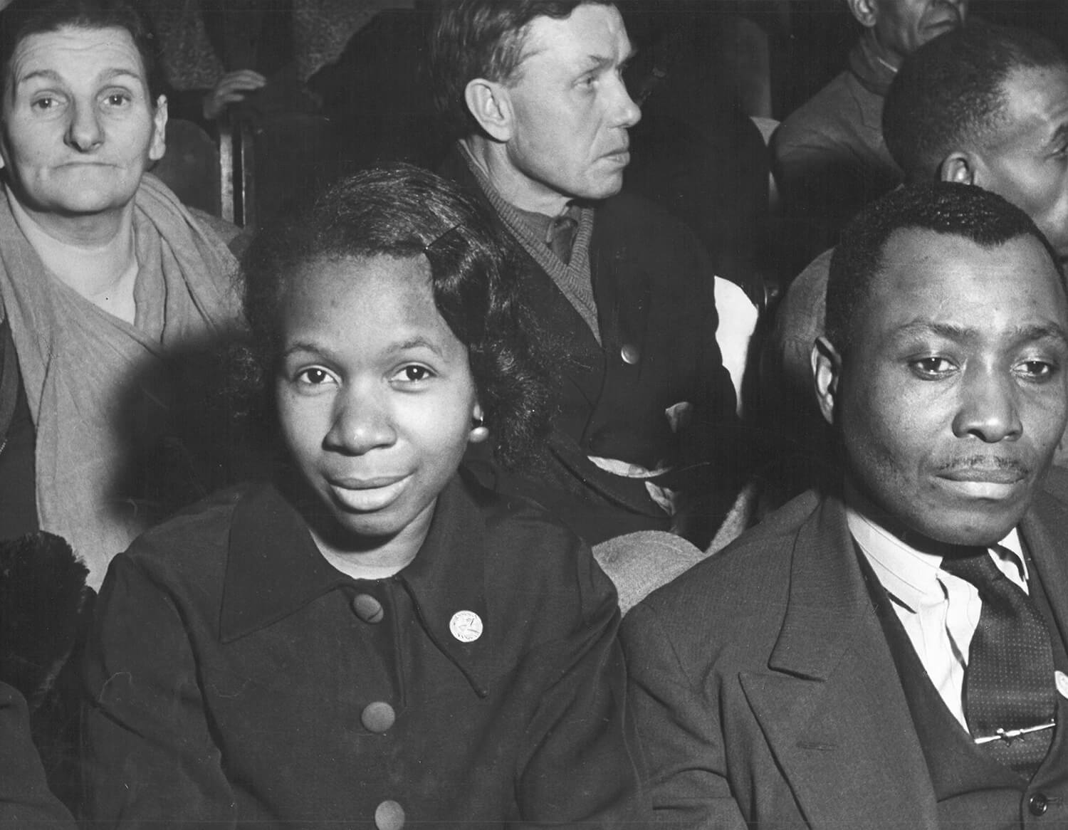 Workers' Alliance Meeting (foreground: Carrie Hallowell and Nelson Manning), Chicago, IL, 1939