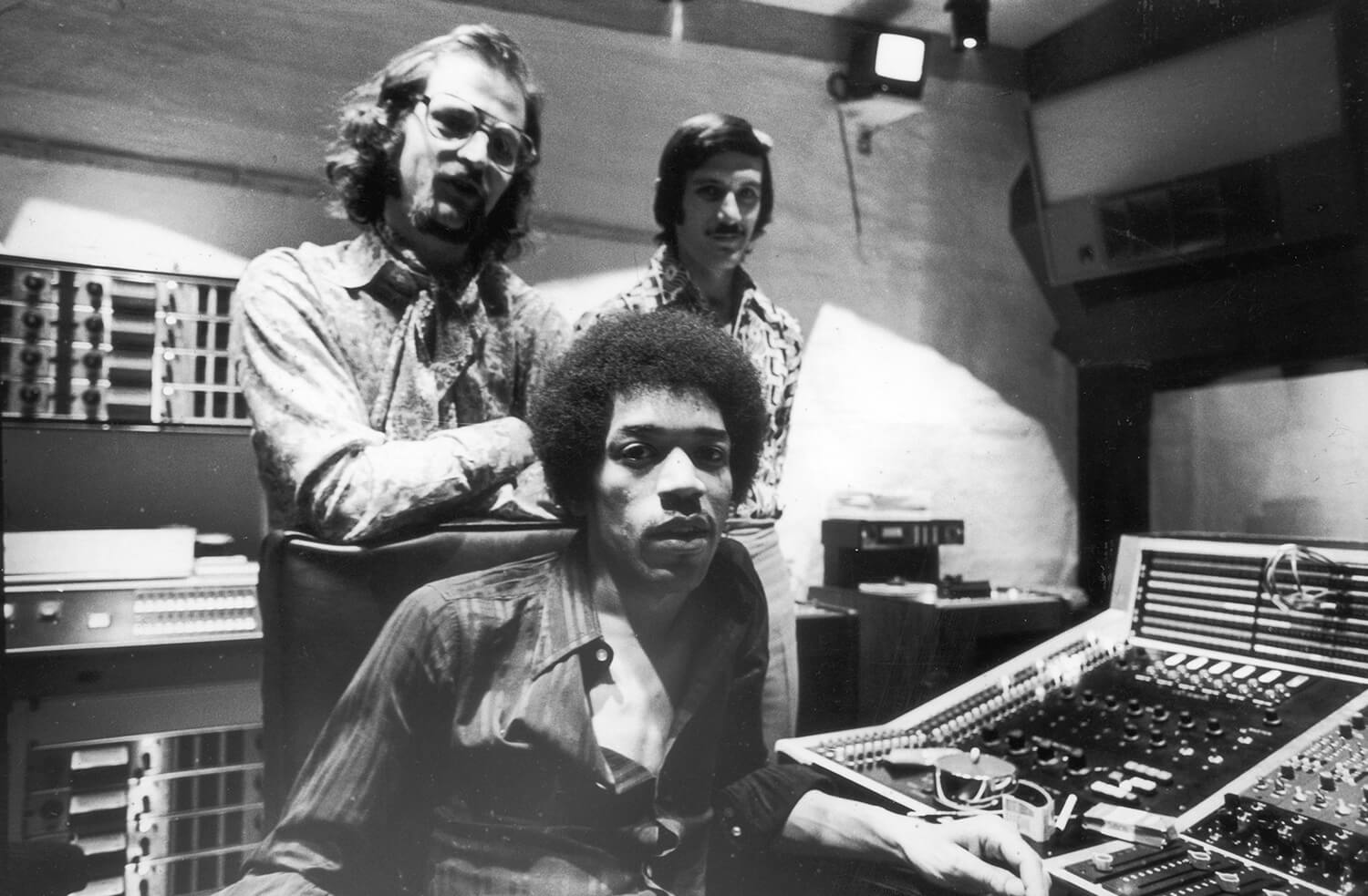 Jimi Hendrix, Eddie Kramer, and Jim Marron at Electric Lady Studio, 1970