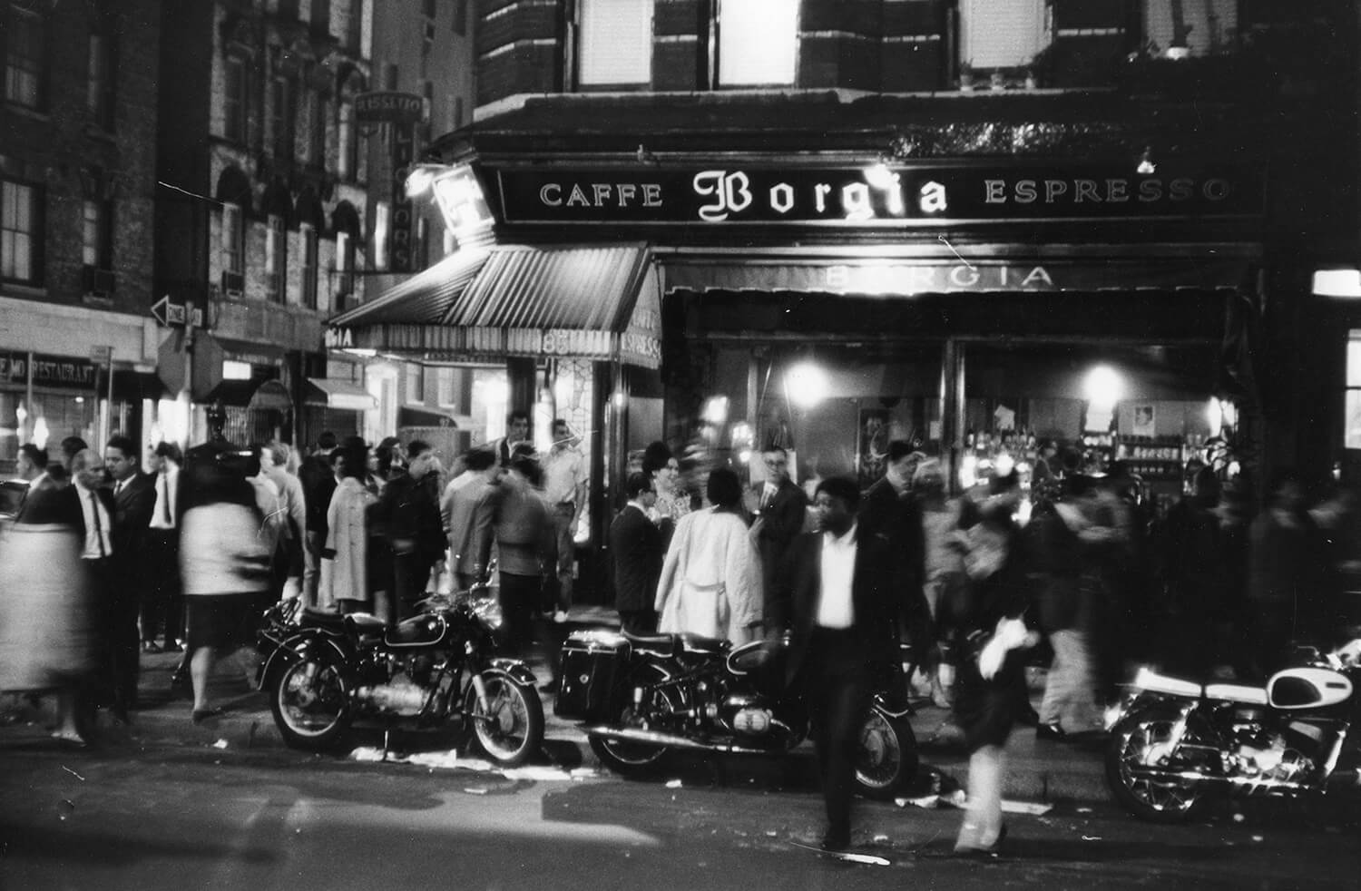 Outside Cafe Borgia in Greenwich Village, 1966
