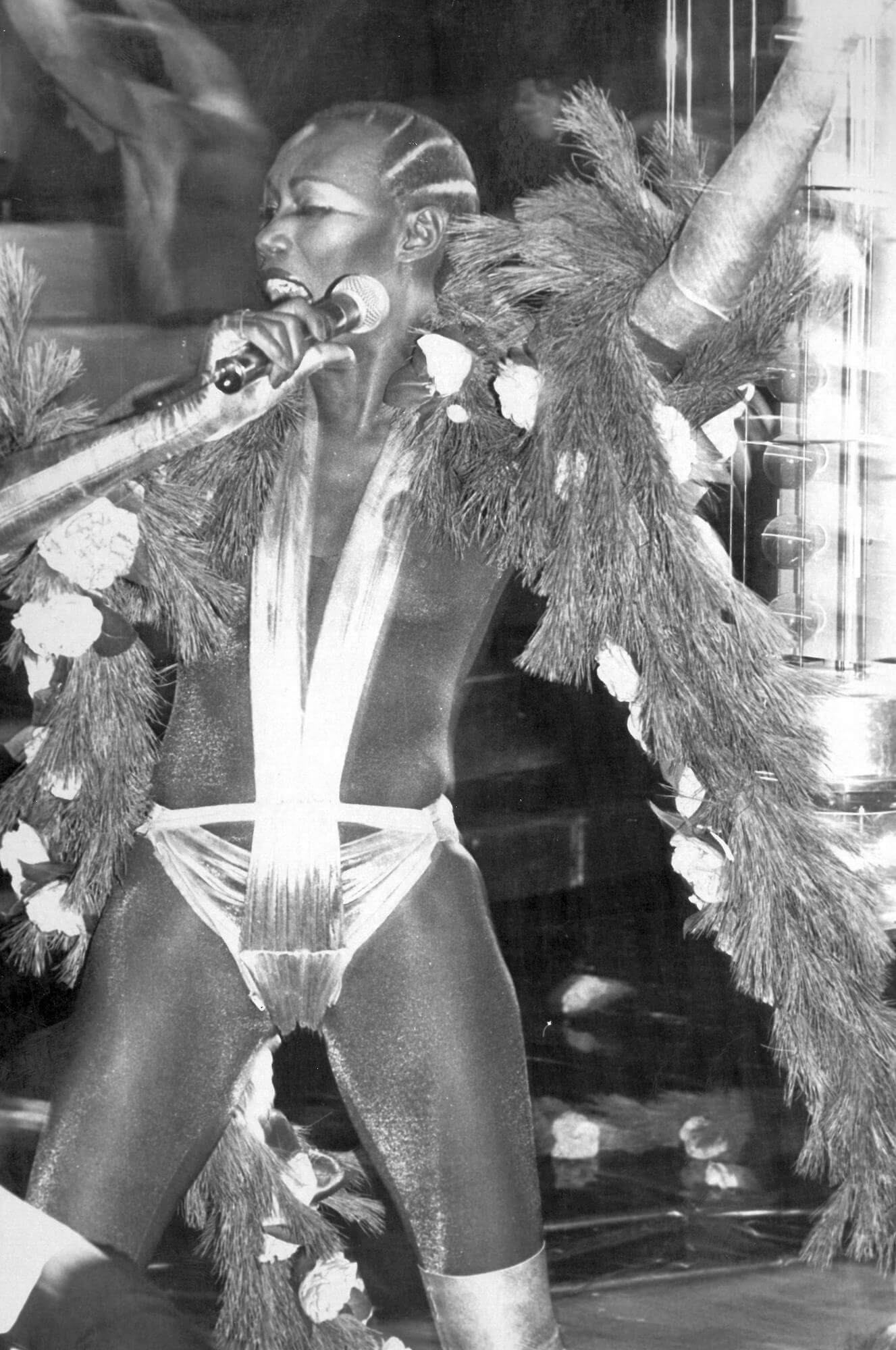 Grace Jones performing at the Studio 54 New Years Eve Party, 1977