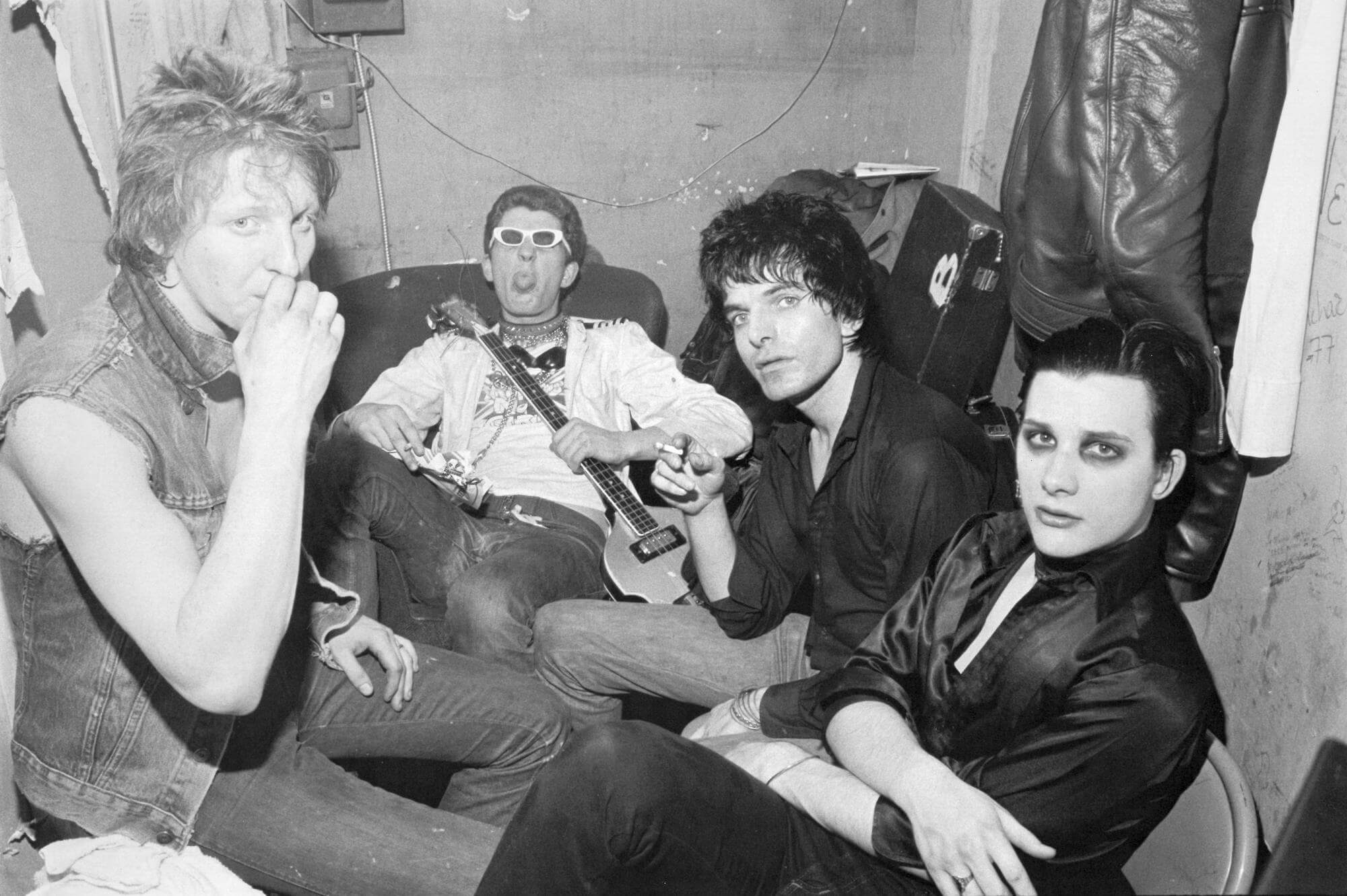 The Damned backstage at CBGB, 1977
