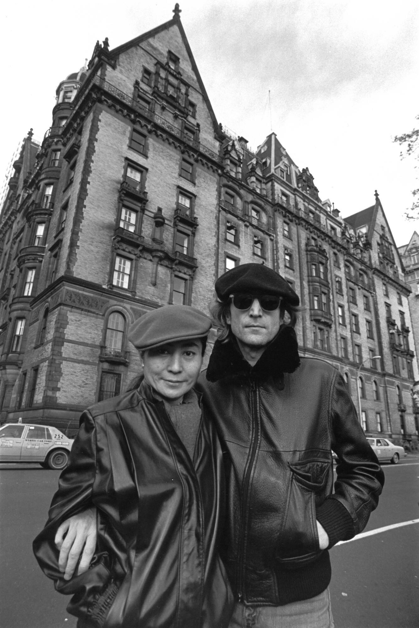 John Lennon and Yoko Ono Outside The Dakota, 1980