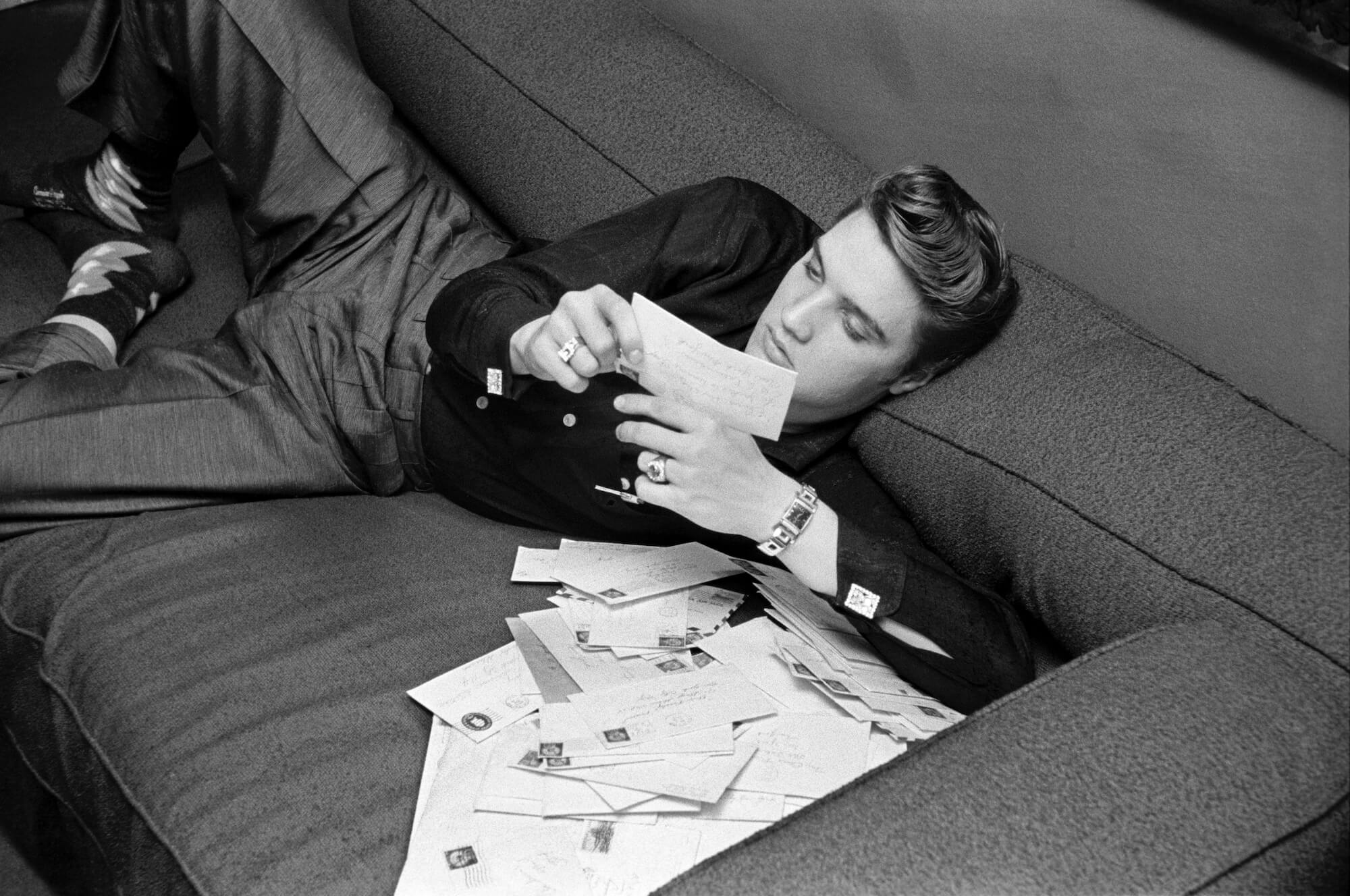 Elvis Presley Reading His Fan Mail, 1956