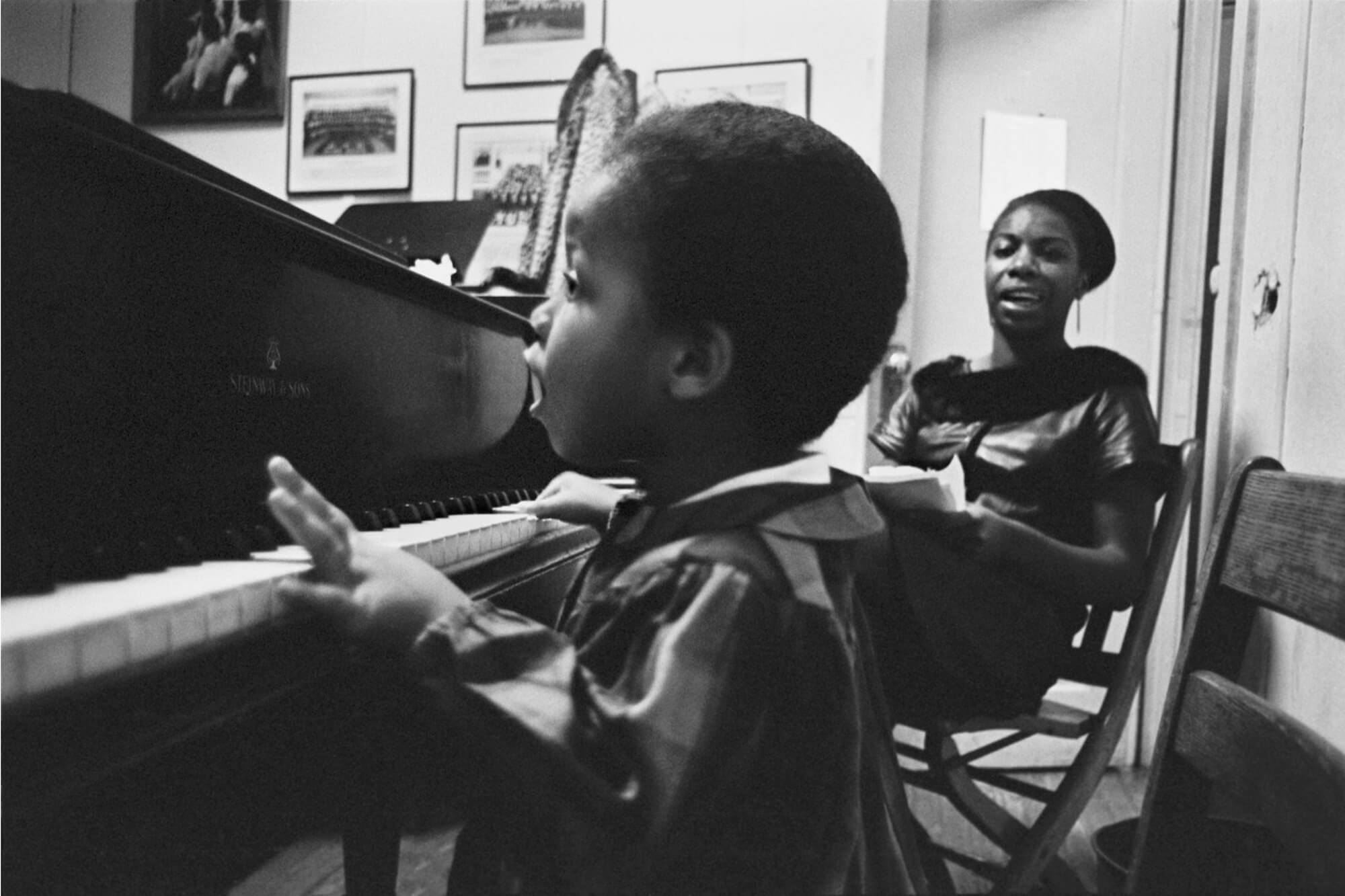 Nina Simone Teaching Her Daughter To Play Piano, 1964