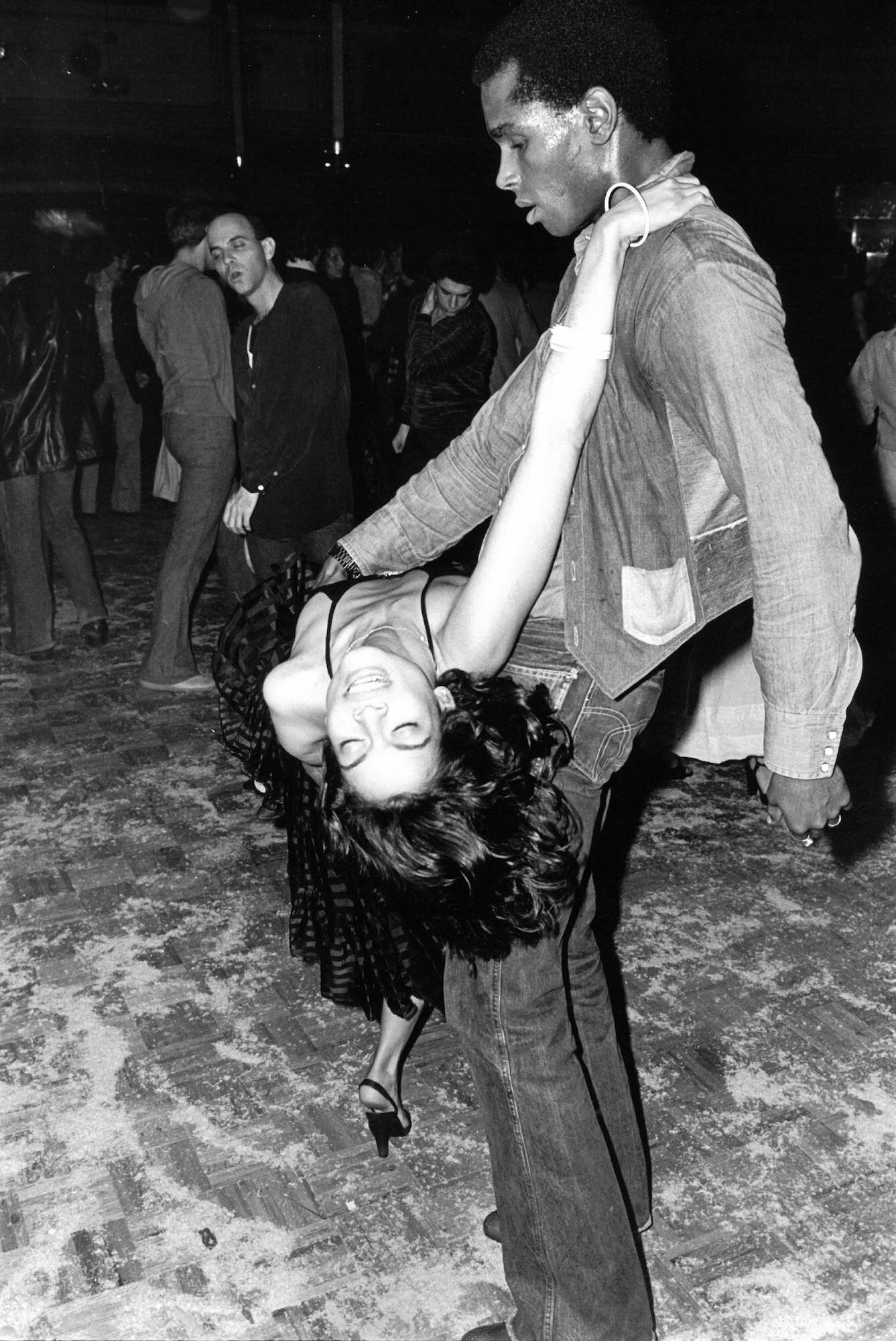 Bianca Jagger and Sterling St. Jacques at Studio 54, 1977