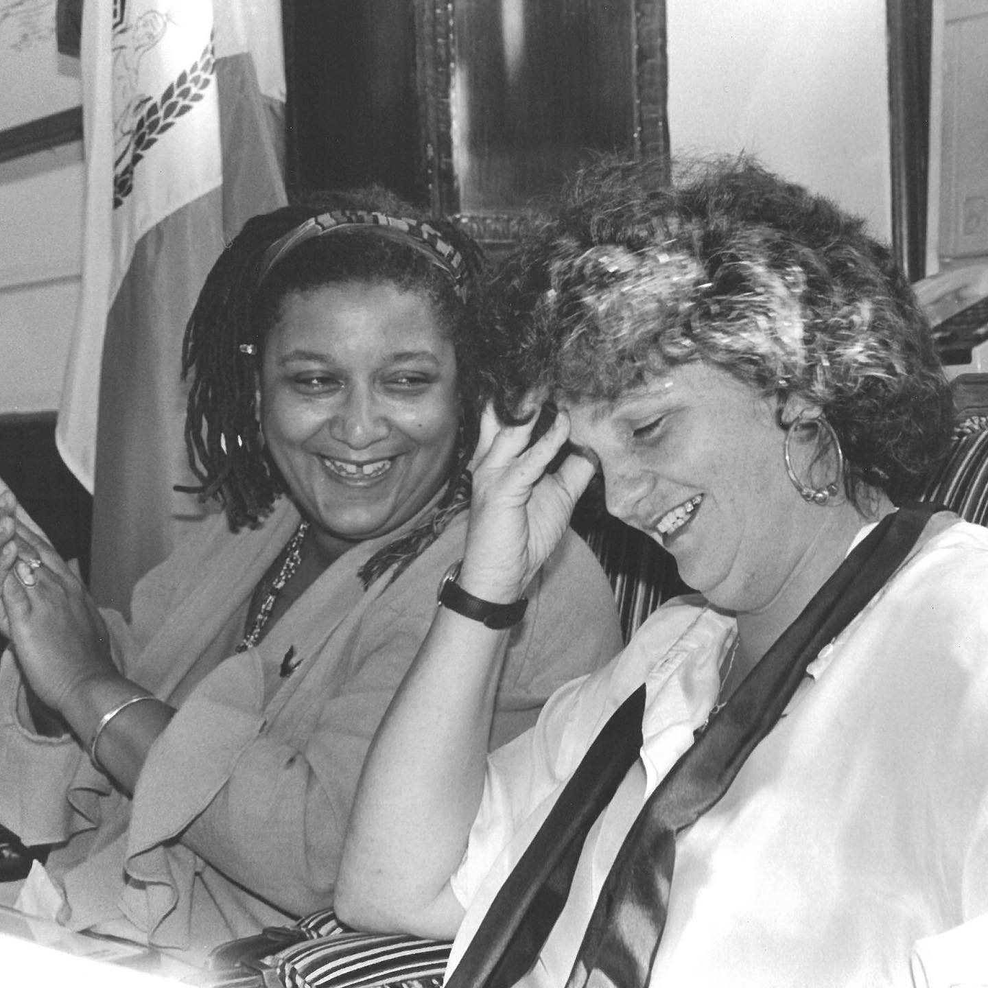 "Pictured here are Jewelle Gomez (left) and Joan Nestle (right), two icons of LGBT literature you should know about!  Gomez considers herself a possible foremother of Afrofuturism and is best known for her lesbian feminist novel The Gilda Stories. which reframes vampire mythology. In the 1970s she was a member of the lesbian feminist literary magazine Conditions. Gomez has published essays, poems, plays and short fiction, which have been included in over a hundred different anthologies. She was on the founding board of GLAAD in 1984, and later wrote extensively in favor of equal marriage rights. She is currently the Director of Grants and Community Initiatives for Horizons Foundation, and President of the San Francisco Public Library Commission  Nestle is a founder of the Lesbian Herstory Archives. This project, which grew out of her NYC apartment, aims to shift history towards inclusivity of women, lesbians, and Jews. She was involved in the Civil Rights movement of the 1960s, and devoted her focus to gay liberation after the Stonewall Riots. Through the '80s and '90s she published two books of collected writings and edited various anthologies and collections of LGBT voices. She is especially known for 1992 anthology ""The Persistent Desire: A Femme-Butch Reader"".  Both Gomez and Nestle are holders of Lambda Literary Awards, which are given to celebrate American LGBT literature. The two are seen here at an awards ceremony at NYC Comptroller Liz Holtzman's office on June 26, 1991 © Fred W. McDarrah/MUUS Collection  #womenshistory #womenshistorymonth #blackhistory #photography #documentaryphotography #filmphotography #film #filmisnotdead #photoftheday #blackandwhitephotography #muuscollection #LGBThistory #gayhistory #womenshistory #archives #equalrights #civilrights #stonewall #lesbianhistory #GLAAD #herstory #literature #fredmcdarrah"