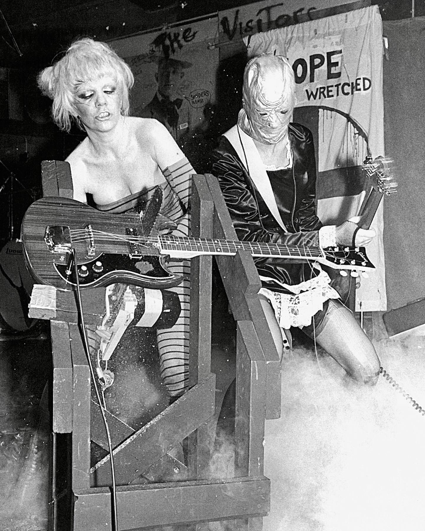 """Happy birthday Wendy O. Williams! Born in 1949, this wild songstress of punk band The Plasmatics would have been 72 years old today.  Even before punk fame, Williams had a remarkable path. By all accounts a quiet, sweet girl with decent grades, she decided to hitchhike to Colorado at age 16. She then traveled to Florida and Europe on a string of odd jobs that included lifeguarding, stripping, and serving at Dunkin Donuts. In New York in the late 70s, she was taking part in sex shows before being recruited to the Plasmatics, which gained acclaim in the underground punk scene, making their debut at CBGB in 1978. Williams' performances were not just musical, but were extreme performances which included exploding equipment, firing of a shotgun, nudity, and taking a chainsaw to a guitar - the last of which was captured here by Allan Tannenbaum!  After 3 albums with the Plasmatics, Williams went solo. She first released the duet """"Stand by Your Man"""" with Lemmy Kilmister of Motörhead in 1982. She then went on to release her debut album W.O.W. in 1984, produced by Gene Simmons and backed by other members of KISS . After two more albums and a few movie and TV roles (not to mention a run in The Rocky Horror Show) she retired from music in 1991. She moved to Connecticut with former manager Rod Swenson and became a wildlife rehabilitator, also working at a food co-op. She died of by suicide in 1998 at age 48.   📸 © Allan Tannenbaum/MUUS Collection"""