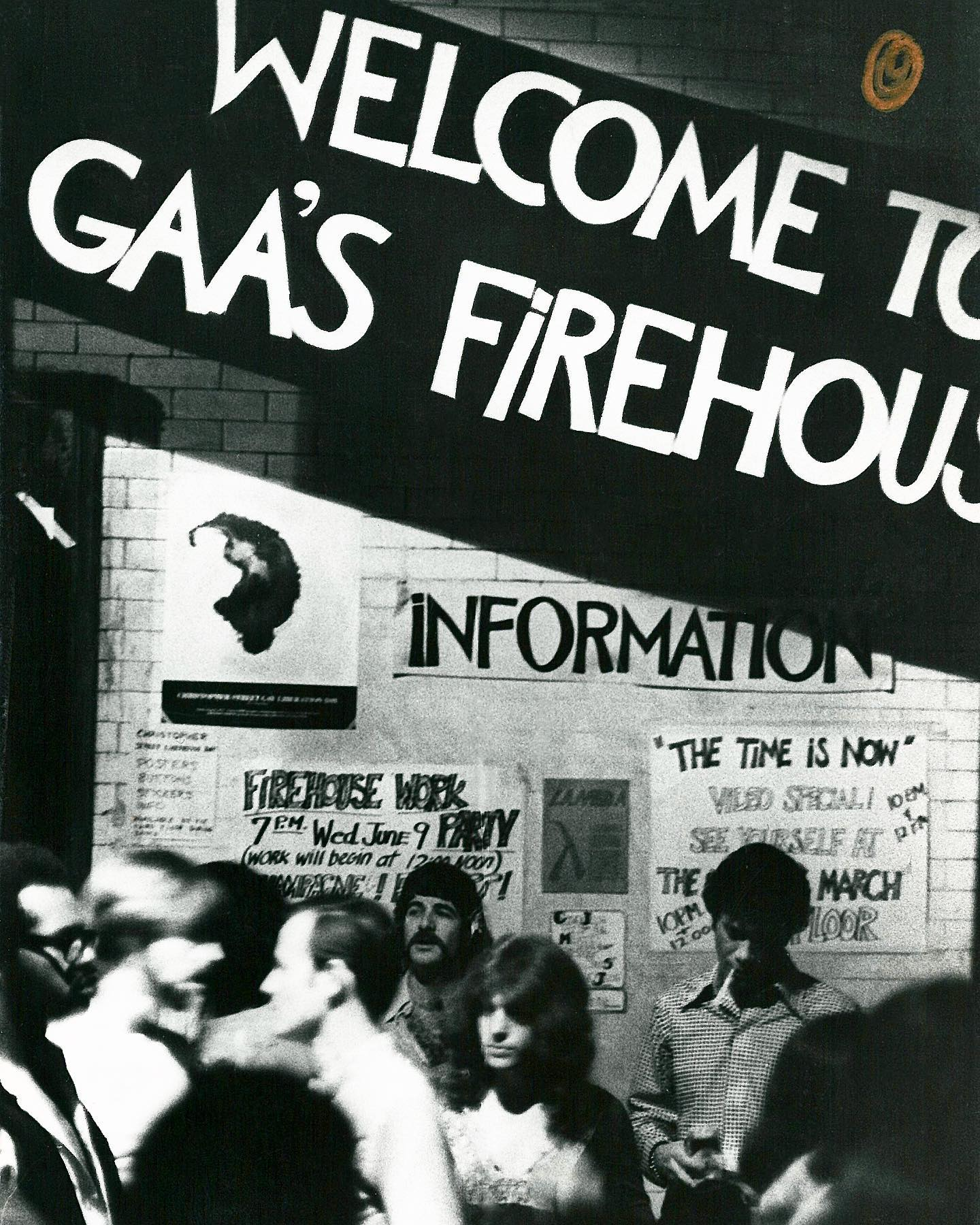 """The Gay Activist Alliance was formed six months after the events of the Stonewall Uprising, by dissident members of the Gay Liberation Front. In contrast to the very left-wing GLF which aligned itself with groups like the Black Panthers, the GAA defined itself as a single-issue and politically neutral group. The Alliance was most active throughout the 70s, performing """"zaps"""" or public demonstrations against institutions and public figures who engaged in homophobic discrimination.  Seen here is the GAA headquarters, the Firehouse, on June 11th, 1971. This location in Soho served as the organization's HQ from 1971 to 1974, and is now a NYC LGBT Historic Site. The Firehouse is remembered not only as an important political community center, but as the home of well-attended weekly dances and movie nights.  The interior of the Firehouse was destroyed by arson in October 1974, and the GAA was evicted. The organization relocated a few times before disbanding in 1981.  © Fred W. McDarrah/MUUS Collection"""