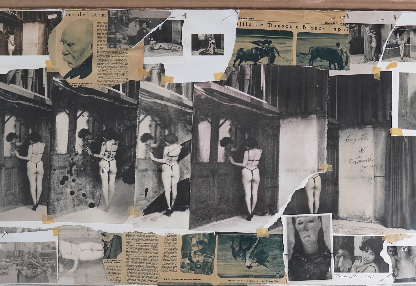 """Though known for her fashion photography, Deborah Turbeville also devoted herself to a complex body of personal work, often involving collages. These collages feature not only her fashion photos, but her more obscure photographs which often featured in her books.   For her collages, Turbeville visibly utilized everyday household binding agents like tape and pins. She also tended to create intentional rips and tears in these objects, and created backings using materials like newsprint, or even brown paper bags.   By combining her unearthly photographs with more commonplace materials in ways that emphasized the construction of each piece, Turbeville crafted totally unique, irreverent, and evocative art objects.  Seen here is a collage featuring materials from Mexico, where Turbeville owned a property she called """"Casa No Name"""". It features a model named Giselle, who Turbeville identified as """"a striptease dancer … in Cafe Tacuba in Mexico City"""". You can also see that she has signed the collage in two places, dating it at """"Jan 92"""".  Check out today's story for a closer look at this collage!  © Deborah Turbeville/MUUS Collection"""