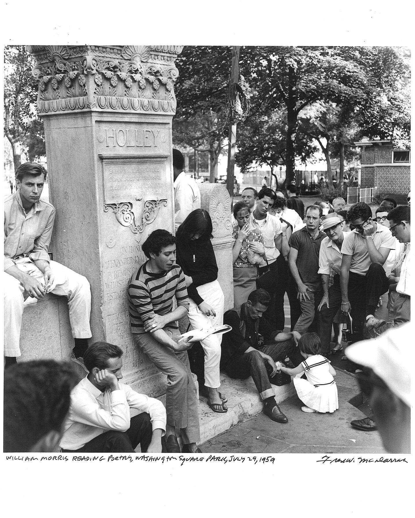 #OnThisDay in 1959, William Morris reads poetry aloud in Washington Square Park while his friend, Malcolm Soule, looks on. The week before, police had arrested Morris on a disorderly conduct charge for attracting a crowd.  © Fred W. McDarrah/MUUS Collection