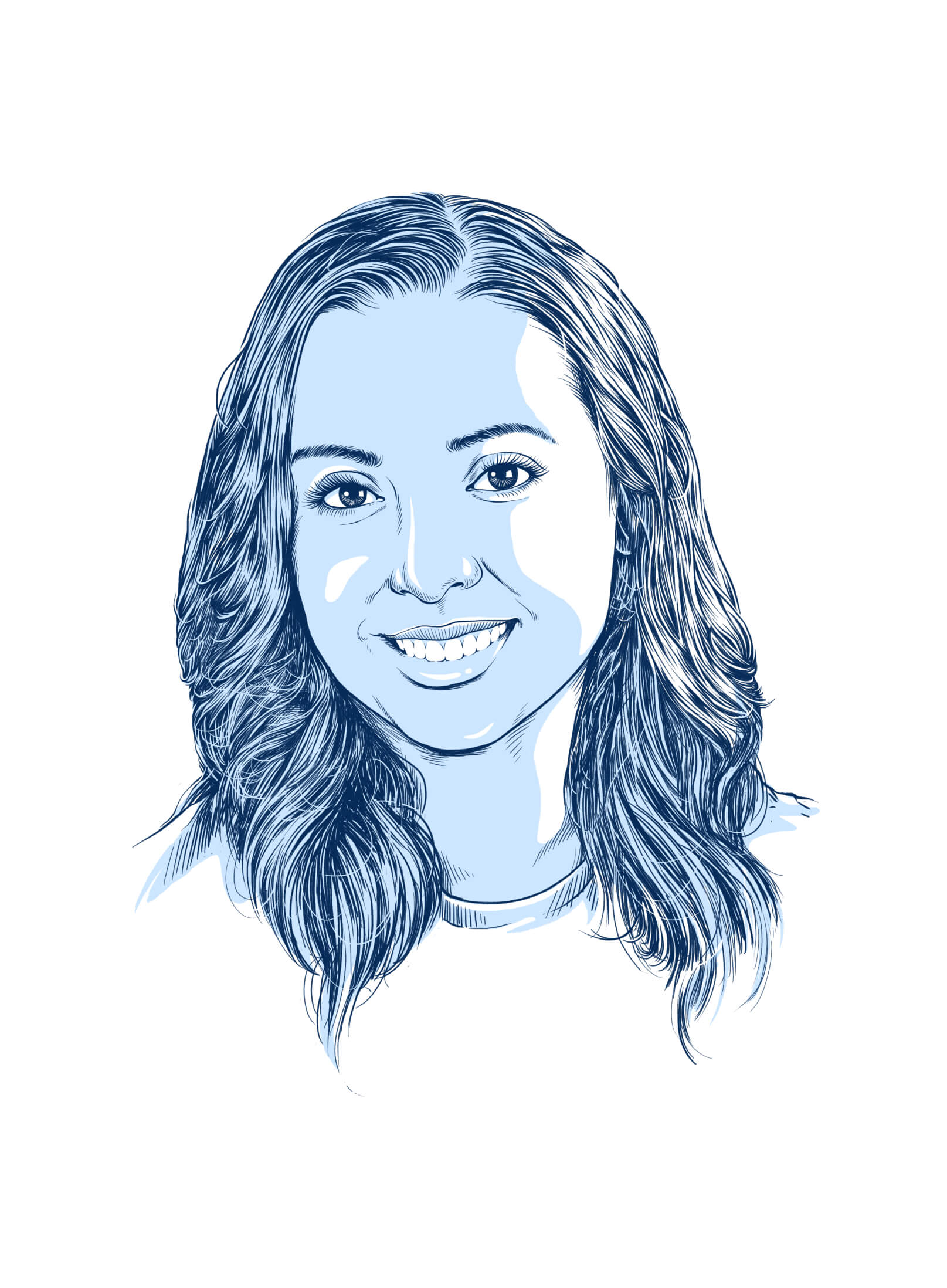 headshot illustration of a female with blue lines