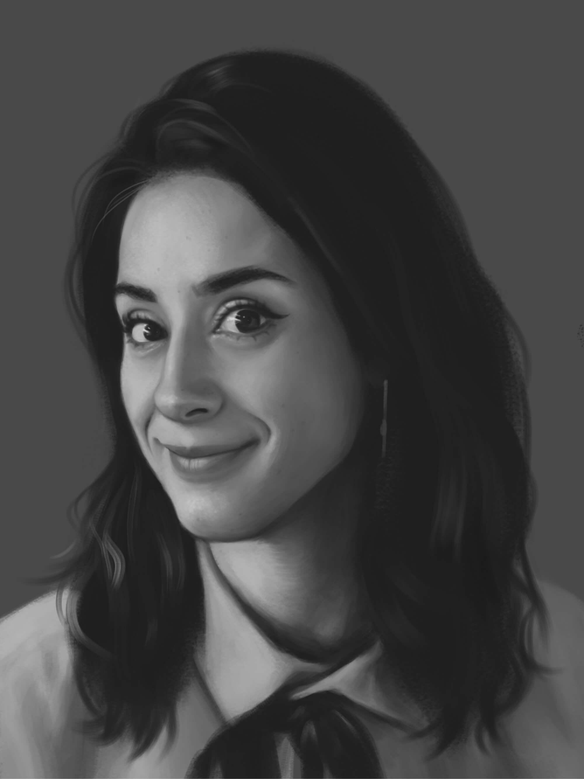 headshot illustration of a female