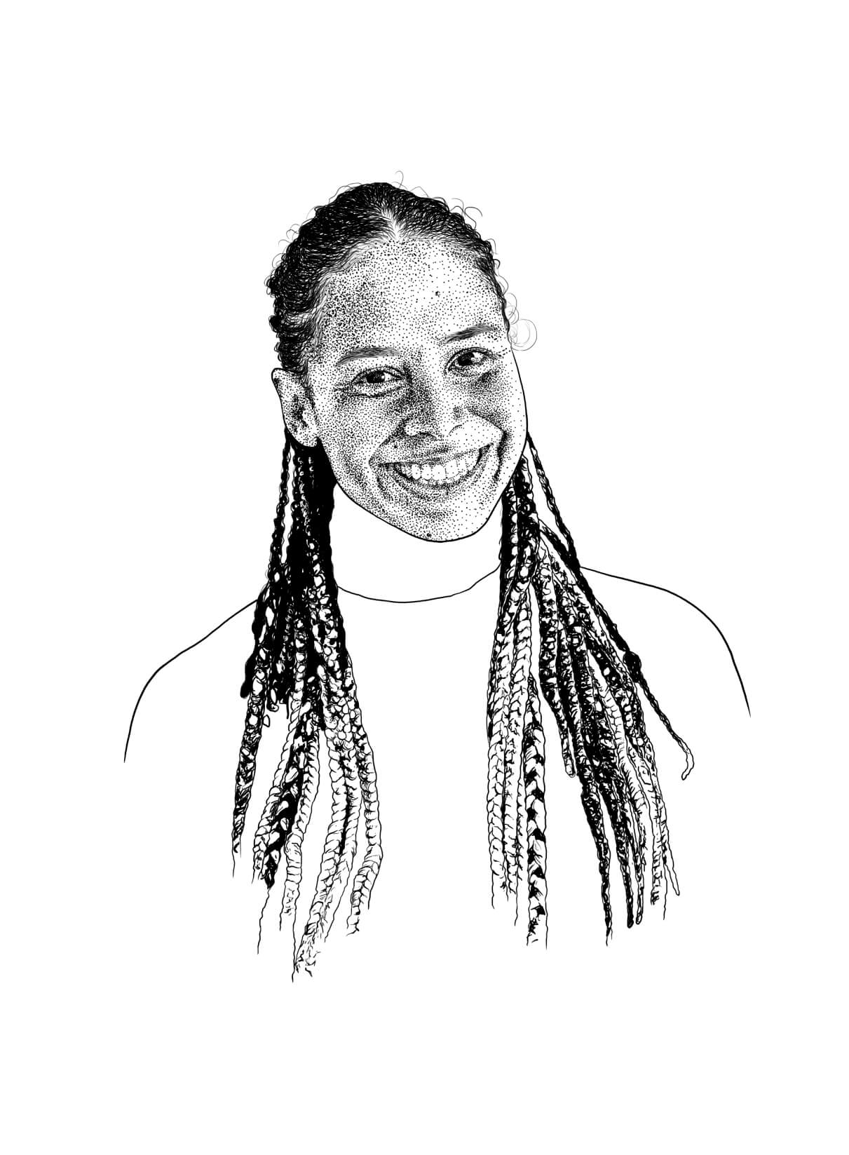 female face illustrated