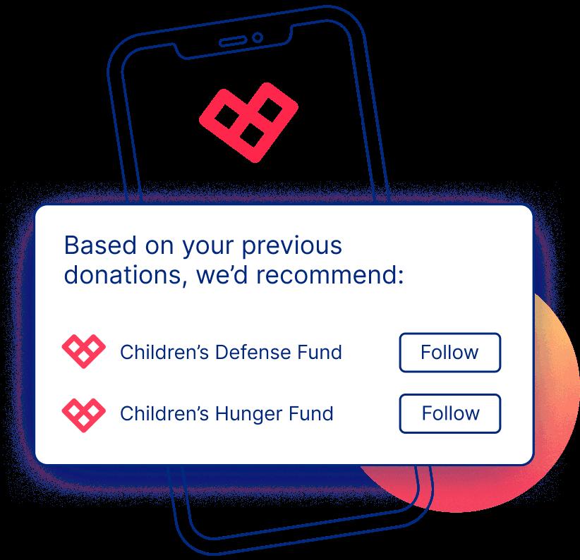 Sample UI Illustration of Following Specific Nonprofits