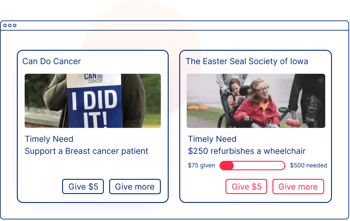 Sample UI Illustration of a Giving Feed on Your Companies Website