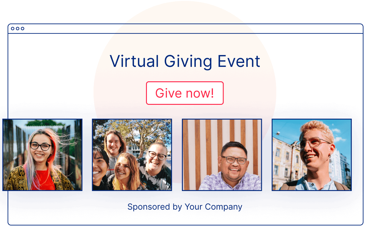 Sample UI Illustration of a Virtual Giving Event Website