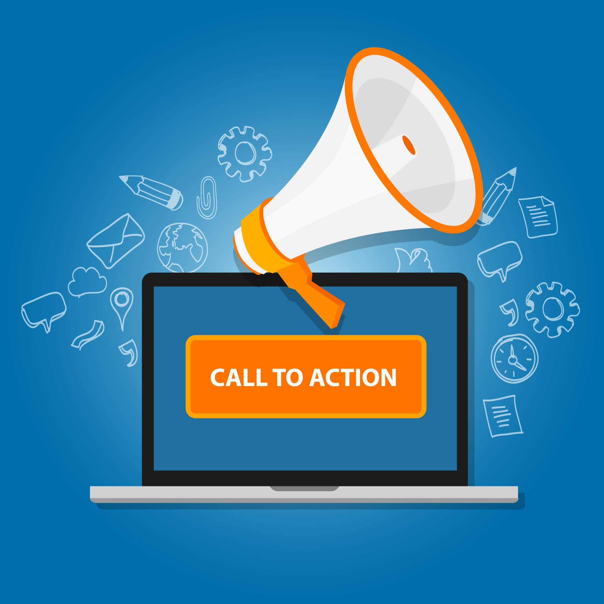 call to action button with megaphone graphic