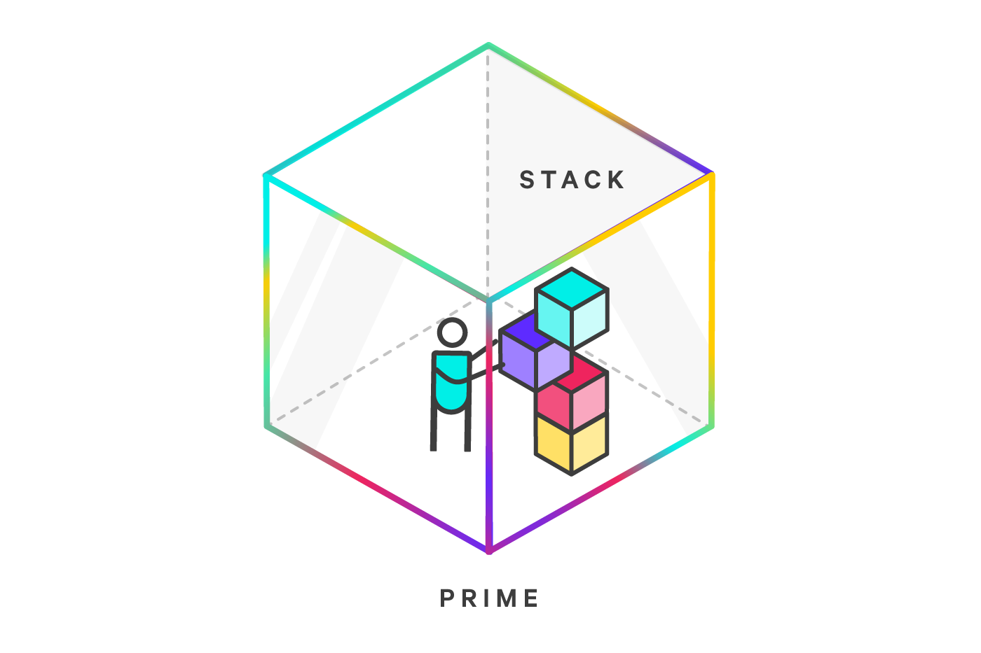 Icon of a person grabbing a memory block from her stack. The person is inside a cube with a bright gradient border.