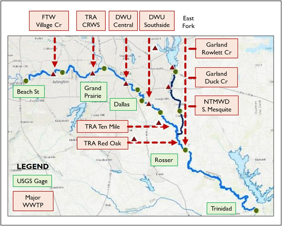 Major Wastewater Treatment Plants in the Upper Trinity River