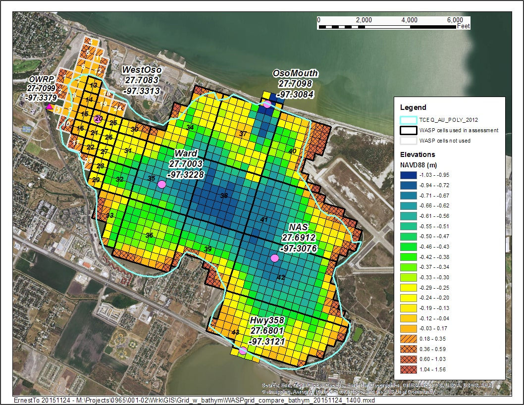 Segmentation and Bathymetry of the Oso Bay Dissolved Oxygen Model