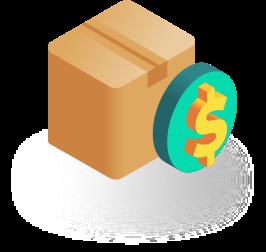 Box and money sign icon isometric